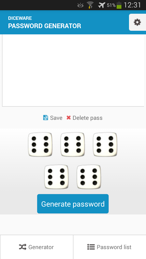 Diceware Password Generator.- screenshot