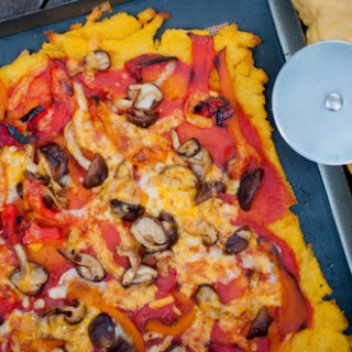 Mushroom And Roasted Red Pepper Pizza On A Gluten-free Polenta Crust