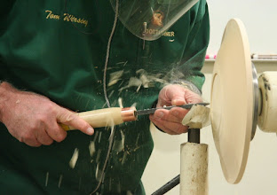 Photo: Cutting gently with the burr on the scraper to even out the tool marks so he doesn't have to sand.