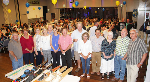 Pictured in front of some of the more than 200 people who packed in to the Narrabri RSL Club on Saturday night for the Yarrie Lake Bore fundraiser are Fred Browning (Yarrie Lake Flora and Fauna Trust president), Christine Cain (Yarrie Lake Flora and Fauna Trust), Joan O'Neill, Louise and Russell Stewart (Collins Park Lighting Committee), Melissa Cain (Yarrie Lake Flora and Fauna Trust), Peter Cooper (Collins Park Lighting Committee), Russell Booby, Janelle Nehrkorn and Bernie Smith (Yarrie Lake Flora and Fauna Trust), Eileen Duffey, Lester Kelly and Bob Wales (Collins Park Lighting Committee).