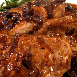 Boneless Pork Chops in a Shallot-Fig Reduction Sauce.