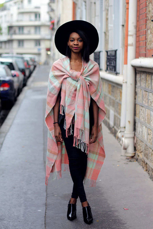 blanket scarf worn as cape