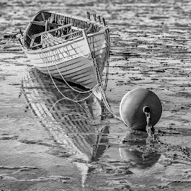 Norhern Sun Boat by Carl Albro - Black & White Objects & Still Life ( mud, buoy, black and white, lifeboat, boat )