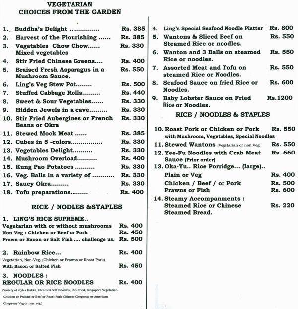 Ling's Pavilion menu 4