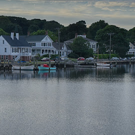 Mystic River at Dusk by Lorraine D.  Heaney - Buildings & Architecture Homes