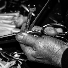 Busy hands by Mick Greaves - Black & White Portraits & People ( scissors, hands, work, monochrome, black and white,  )