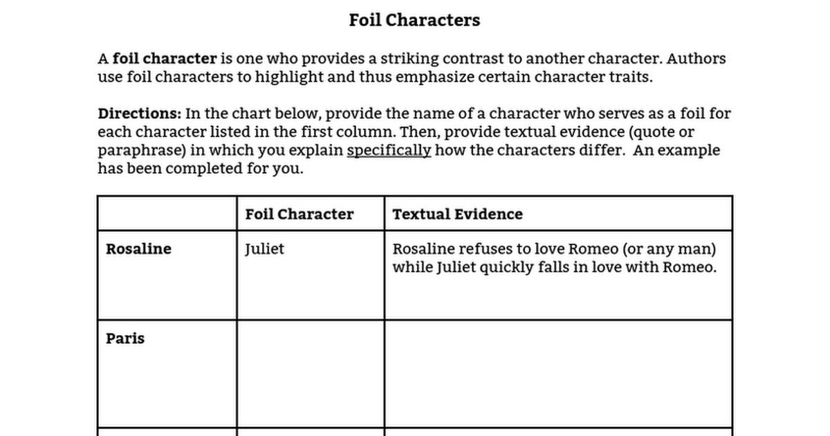 Foil Worksheet - Google Docs