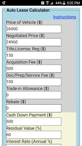 Auto Lease Calculator >> Download Auto Lease Calculator Apk Full Apksfull Com