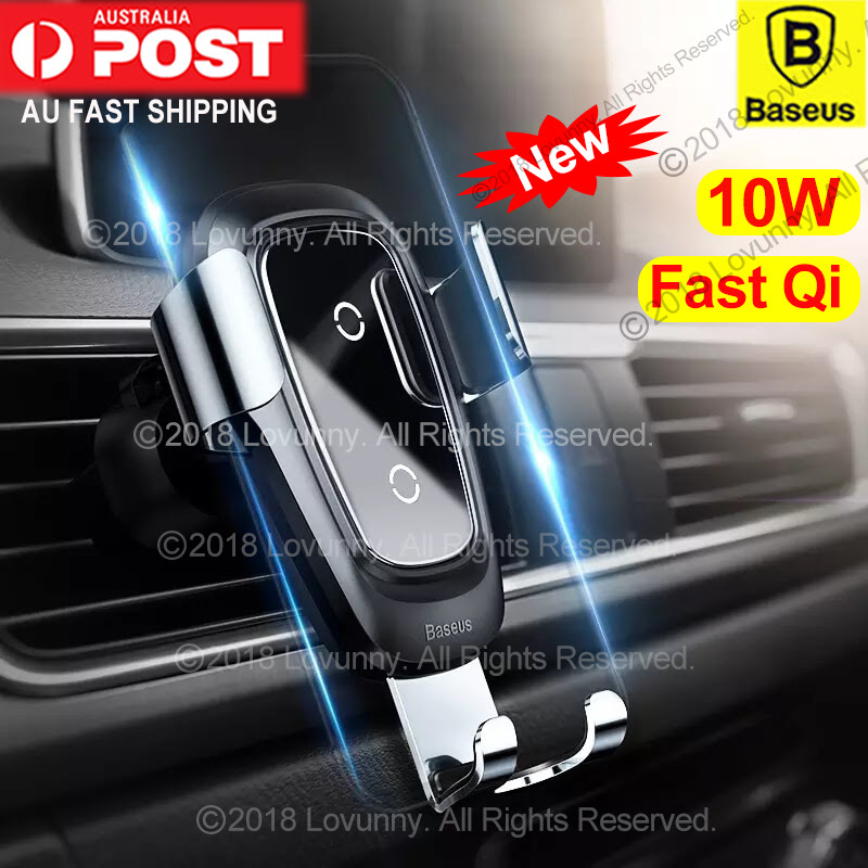 Digital Media Player Accessories Audio & Video Accessories Wireless car Charger Phone Bracket/Air Outlet Gravity Charger Suitable for 4.0-6.5 inch Mobile Phones Support QI Standard 10W Wireless Fast Charging,Gray