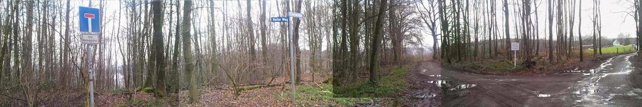 Photo: Am Wegkreuz westlich von ,Auf der Halle' (am Ruhrhöhenweg Süd), hier der Abzweig gen Norden nach ,Am Hegte' an der Autobahn BAB 1 und - ganz rechts - die Straße ,Auf der Halle' zum Café Halle.