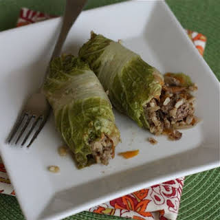 Asian Stuffed Napa Cabbage Rolls.