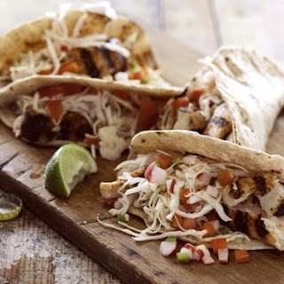 Grilled Fish Tacos with Easy Homemade Pickled Vegetables.