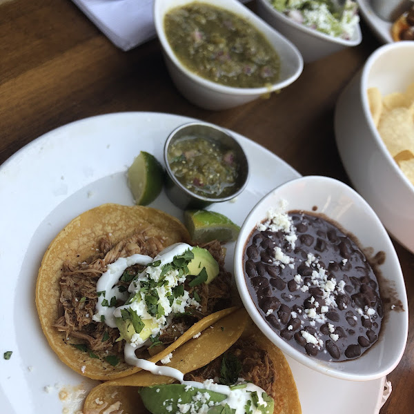 chicken tinga tacos, and black beans