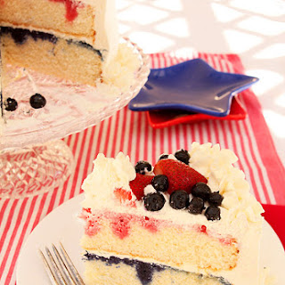 July 4th Red, White and Blue Patriotic Cake