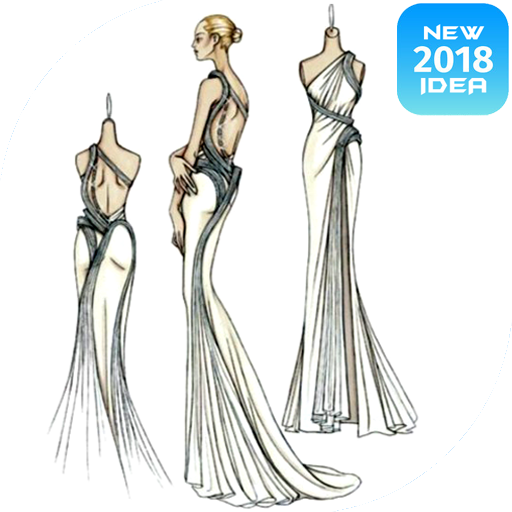 Design sketch glamor dresses