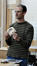 Photo: Steve shows his unfinished winged bowl and explains his difficulties making it.