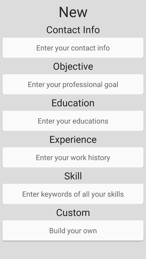 simple resume builder screenshot