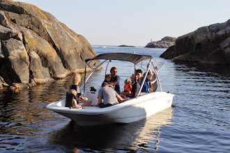 Photo: This is just down from her cottage. Sondre at the helm.