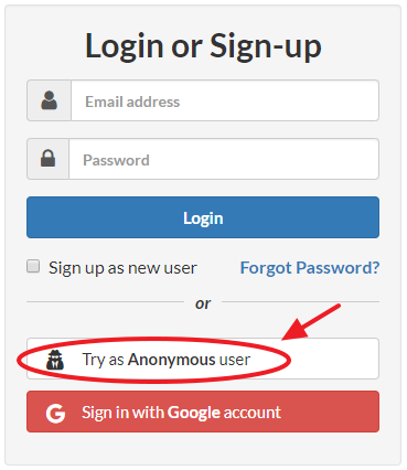 Pholody sign-up page with anonymous option
