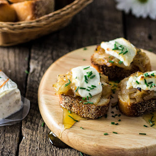 Goat Cheese, Caramelized Onions and Truffled Honey Crostini