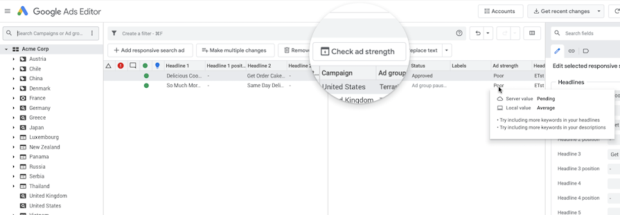 Screenshot showing where to check ad strength in Ads Editor v1.5