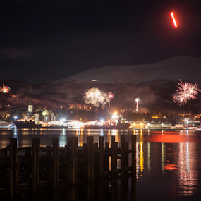 New year eve by Yvonne Reinholdtsen - Public Holidays New Year's Eve ( new year, harbour, vesterålen, fireworks, norway,  )