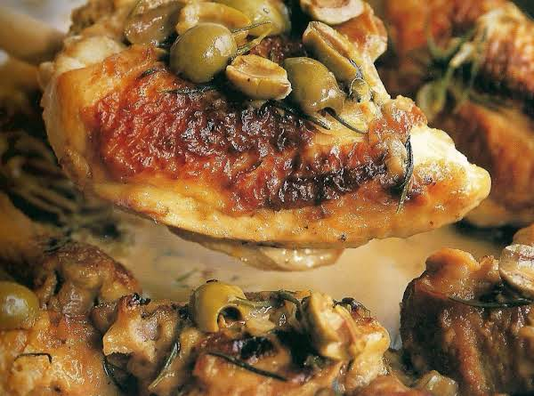 Pan Roasted Chicken With Lemon, Olives And Rosemar