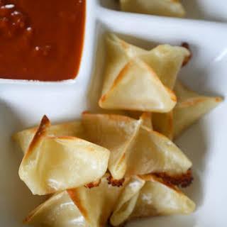 Mozzarella Wontons with Dipping Sauce.