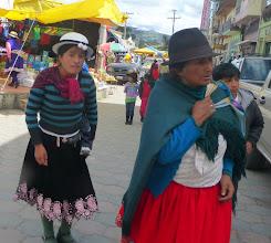 Photo: Young Cañari woman follows her Mom
