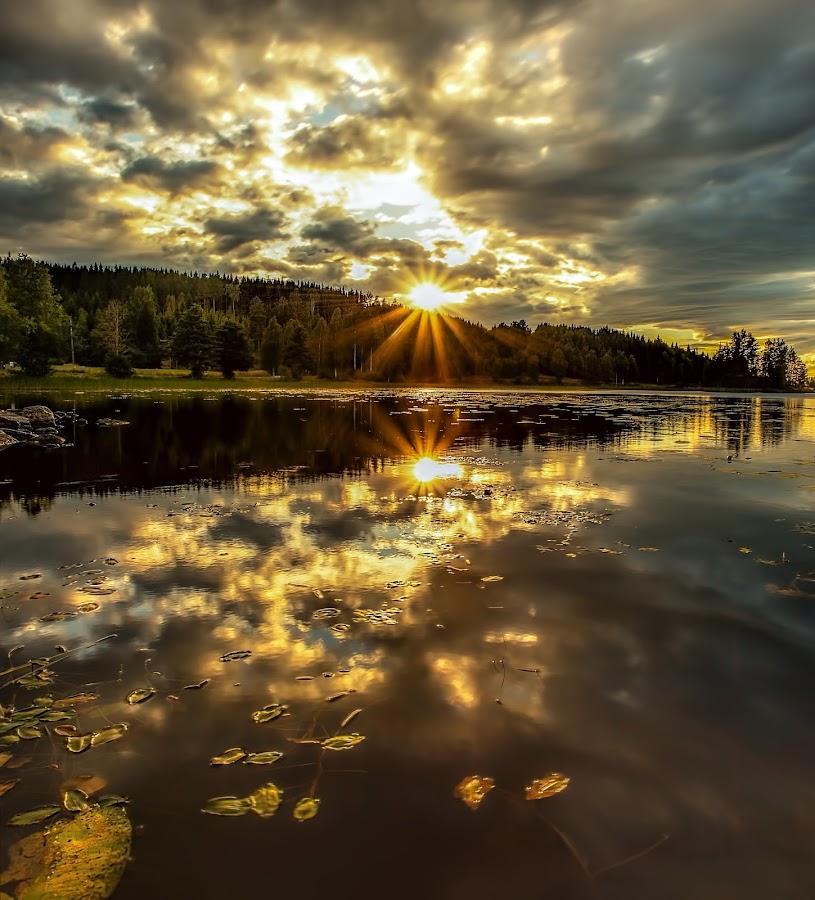 Peaceful by Rose-marie Karlsen - Landscapes Sunsets & Sunrises ( sky, reflection, nature, sunset, clouds, lake, serene, landscape )