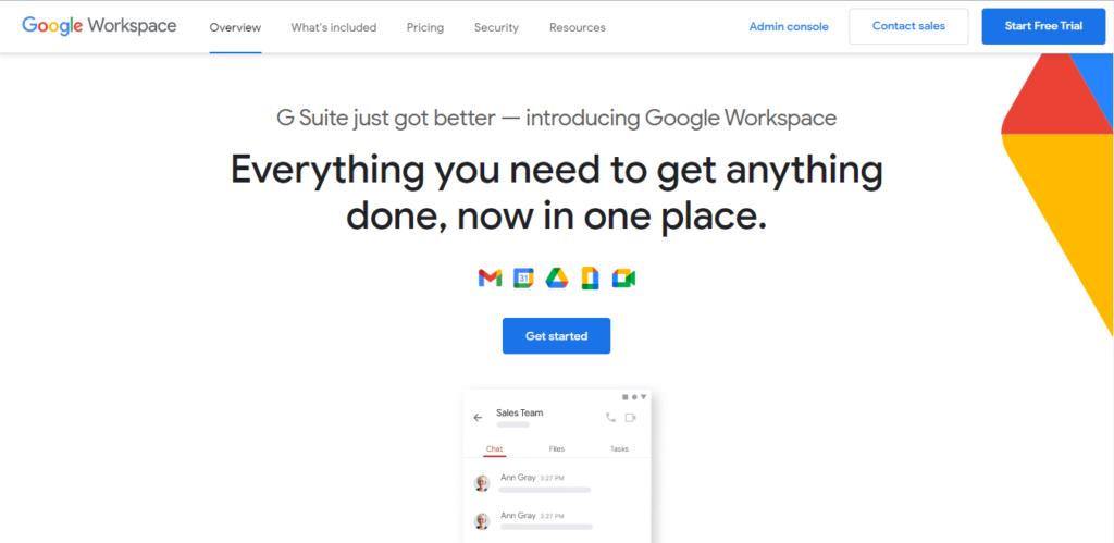 Google workspace landing page