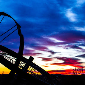 Ranch yard implements at sunset by Josh Ewing - Artistic Objects Other Objects ( ranch implements, sunset )