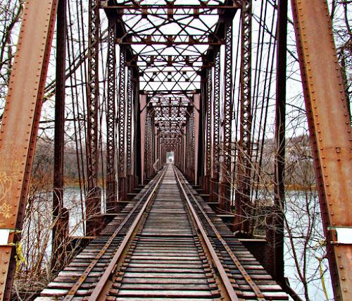 Over the River by Elaine Tweedy - Transportation Trains ( train, tressle, tracks, bridge )
