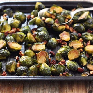 Maple Roasted Brussels Sprouts with Sriracha.