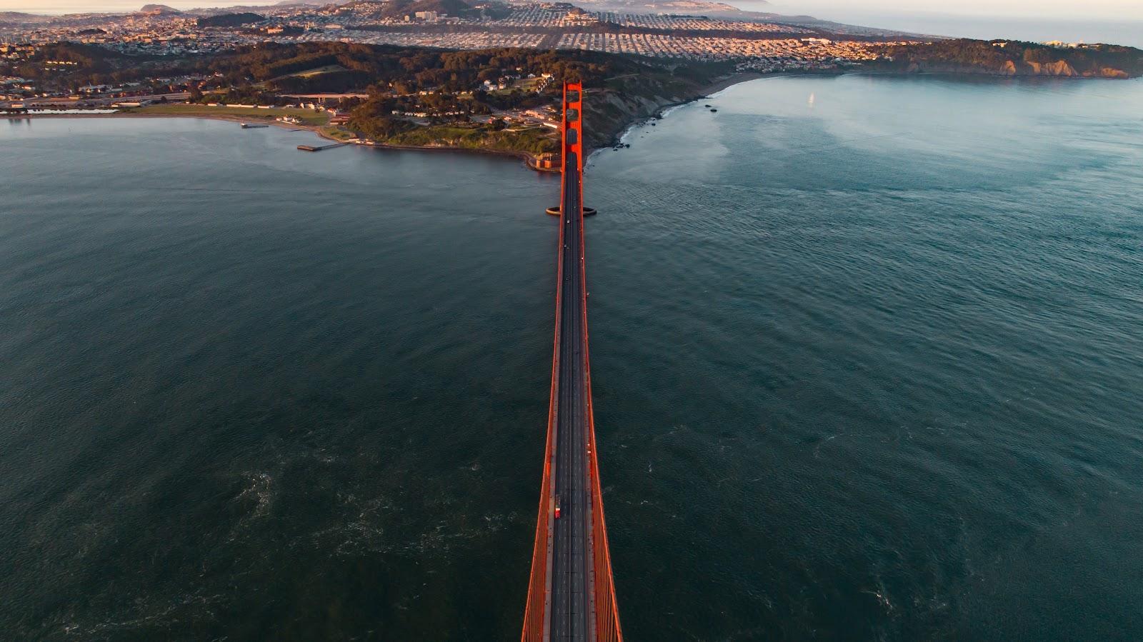Drone aerial photo above the Golden Gate Bridge