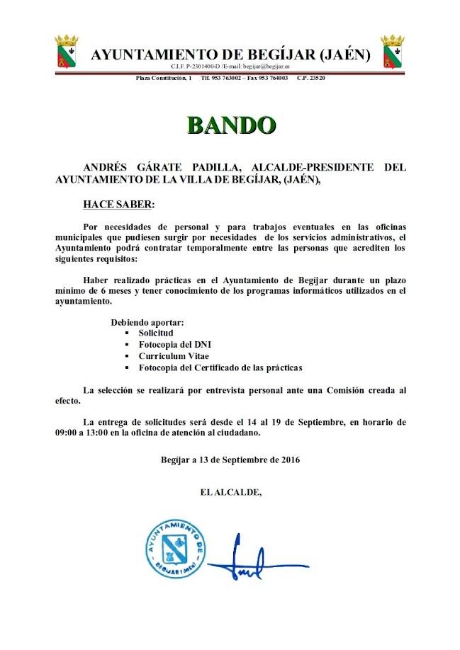 Bando Contratación Administrativo