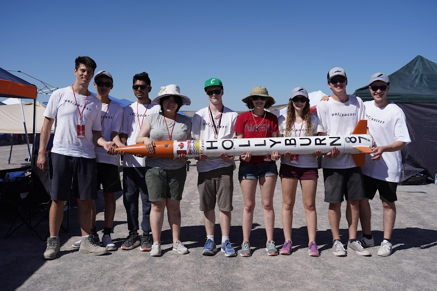 The UBC Team getting ready to launch one of their rockets.