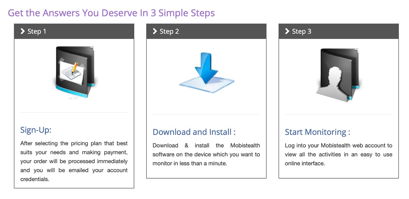 MobiStealth 3 steps