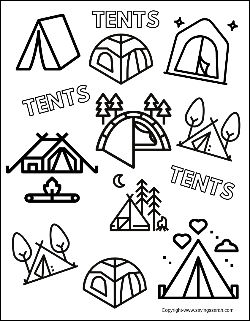 Camping Activities Coloring Sheet