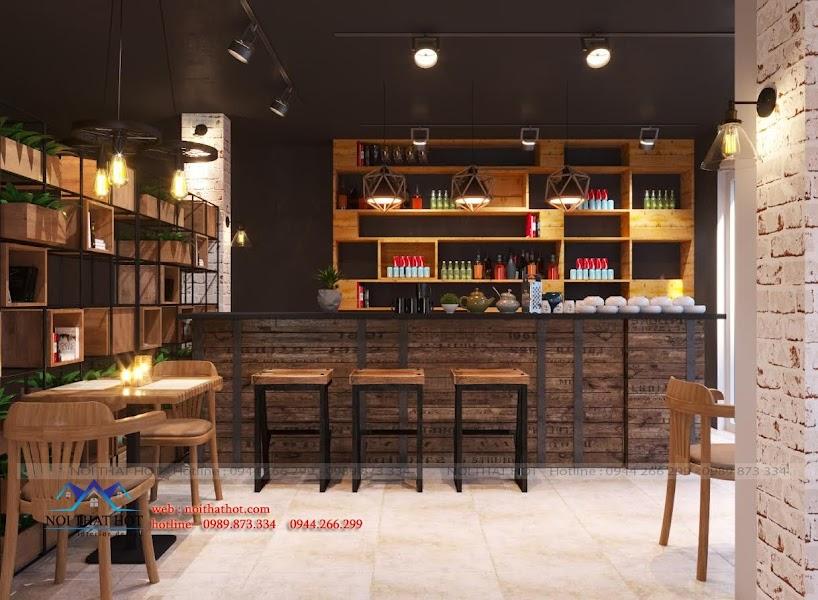 thiết kế nội thất quán cafe tại long biên
