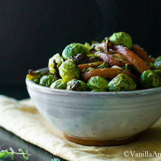 Roasted Brussels Sprouts and Pears with Thyme