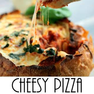 Cheesy Pizza Dip Bread Bowl.