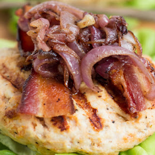 Goat Cheese Stuffed Turkey Burgers with Bacon & Caramelized Onions.