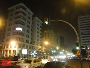 Photo: a busy night scene in Casablanca