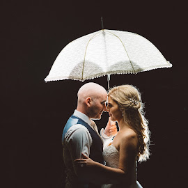 Night sky by Paul Duane - Wedding Bride & Groom ( bride, sky, groom, umbrella, night, dark, wedding )