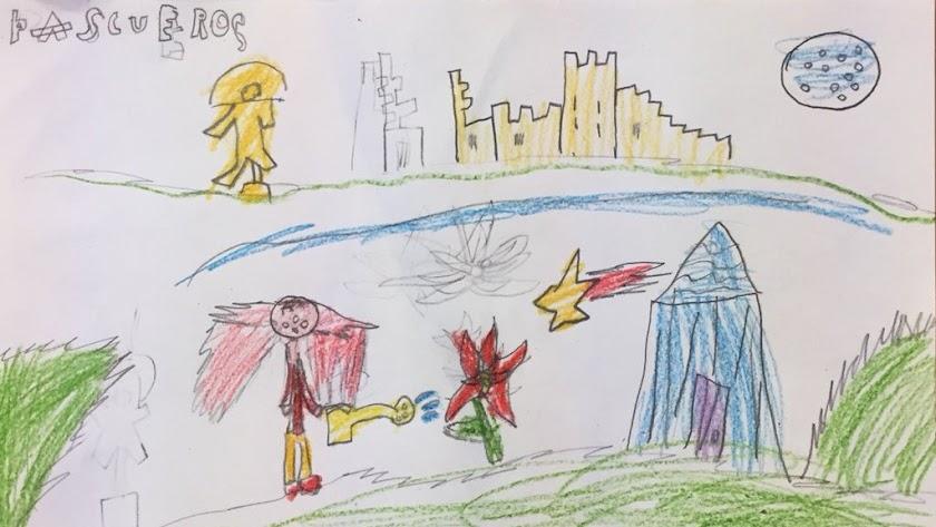 Uno de los dibujos realizados por alumnos de 1º de Primaria del Ginés Morata.