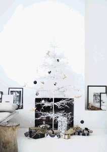 Painted white, this a small Karoo thorn tree makes a striking Christmas tree.