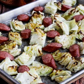 Low-Carb Roasted Lemon Cabbage and Sausage Sheet Pan Meal.