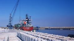 Carga de graneles en el dique comercial del Puerto de Carboneras.