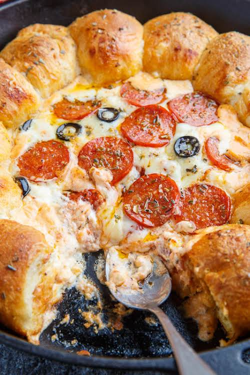 """Stuffed Crust Pizza Dip """"A layered, hot cheesy dip with all of..."""